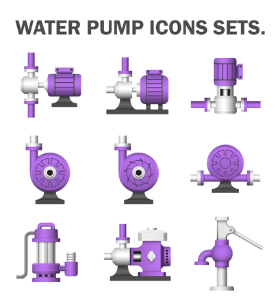 A vector icon of electric water pump and agriculture equipment for water distribution isolated on white background. Illustration