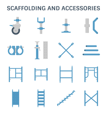 Scaffolding and pipe vector icon set.