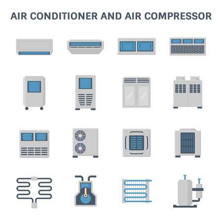 Vector icon of air conditioner and air compressor part of hvac system. Çizim