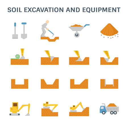 Soil excavation and equipment vector icon set design.