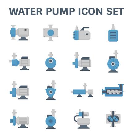 icône de vecteur de pompe électrique de l & # 39 ; eau et de tuyaux d & # 39 ; eau pour l & # 39 ; eau isolé sur fond Vecteurs