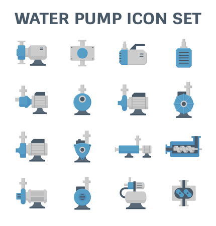Vector icon of electric water pump and steel pipe for water distribution isolated on white background. Vektorové ilustrace