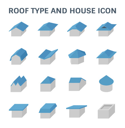 Roof type and house vector icon set design.  イラスト・ベクター素材