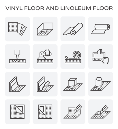 Vinyl floor and linoleum floor construction by worker vector icon set design.
