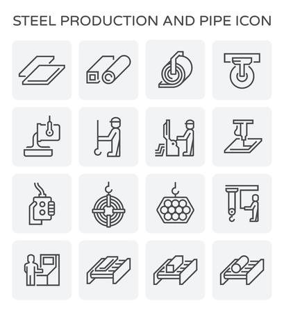철강 생산 및 파이프 벡터 아이콘 세트 디자인을 설정합니다.