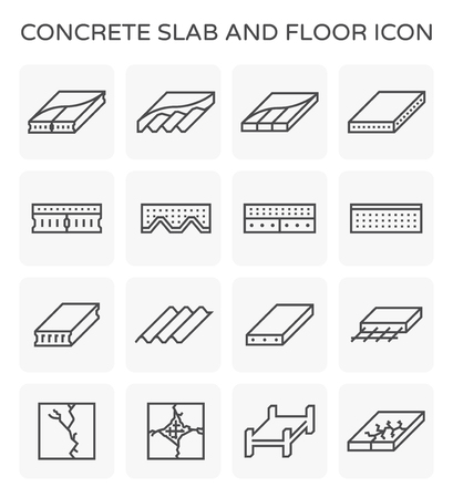 Concrete slab and floor icon set.