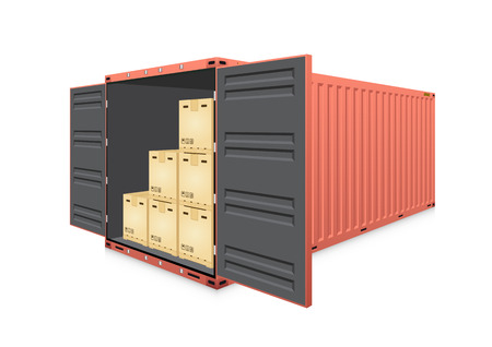 Vector of cargo container or shipping container and product carton box  for logistic  and transportation work isolated on white background. Illustration