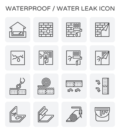 Waterproof and water leak icon set. Illustration