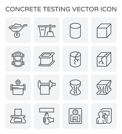 Concrete strength testing and laboratory icon set.