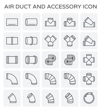 Air duct and sccessory icon set. Stock Illustratie