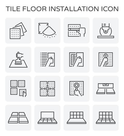 Tile floor installation and material icon set. Illustration