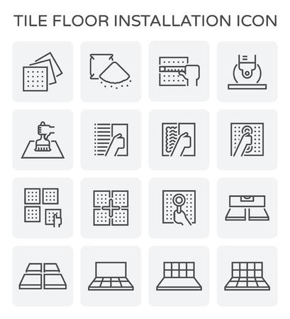 Instalación de suelo de baldosas y conjunto de iconos de material.