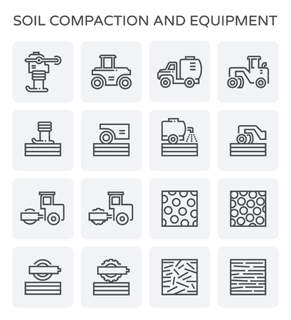Soil compaction and equipment icon set. Vetores