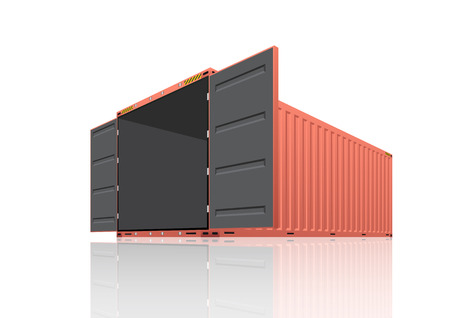 Contenedor para mercancías aislado en la ilustración blanca.