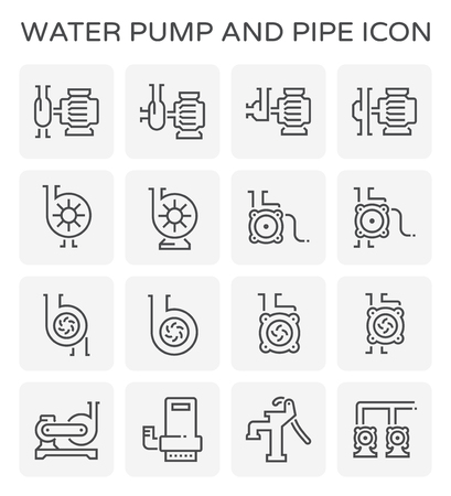 Water pump and steel pipe icon set.