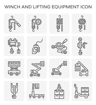 Winch and lifting equipment icon set.