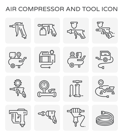 Air compressor and tool icon set.