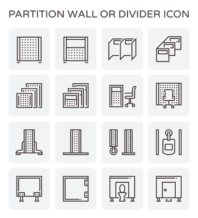 Partition wall or divide space equipment icon set.