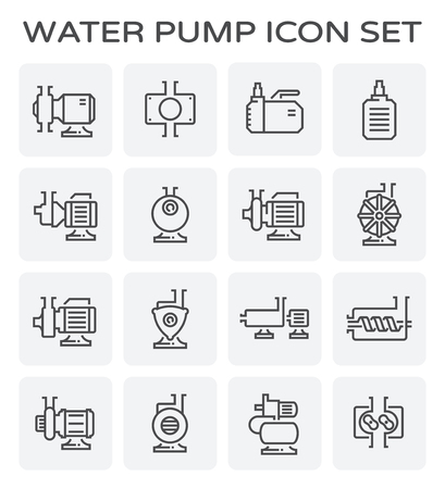 Electric water pump and steel pipe icon set. Ilustração