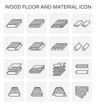 Pavimento in legno e set di icone vettoriali materiale.