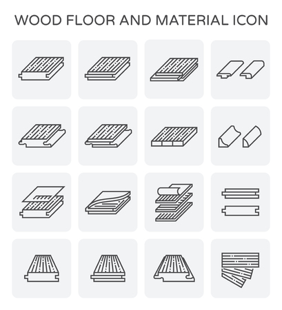 Wood floor and material vector icon set.