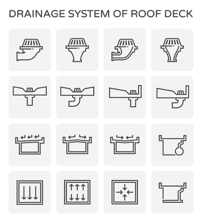 Drainage system of roof deck icon set. Illustration