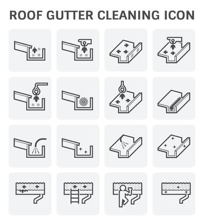 지붕 제본 용 청소 및 유지 관리 아이콘이 설정합니다. 일러스트