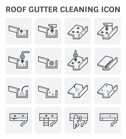 Roof gutter cleaning and maintenance icon set.