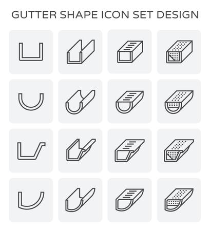 Gutter shape icon set design. Stock Illustratie