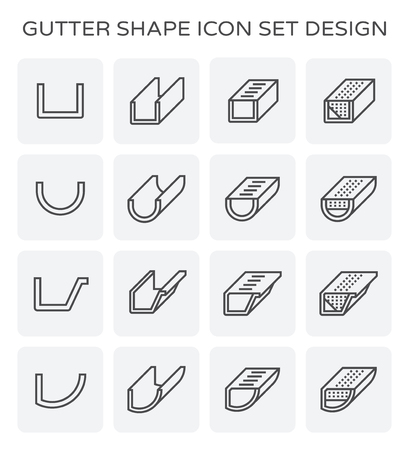Gutter shape icon set design. Illustration