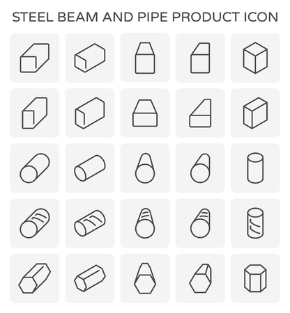 Vector icon of steel beam and pipe product set. Stock Illustratie