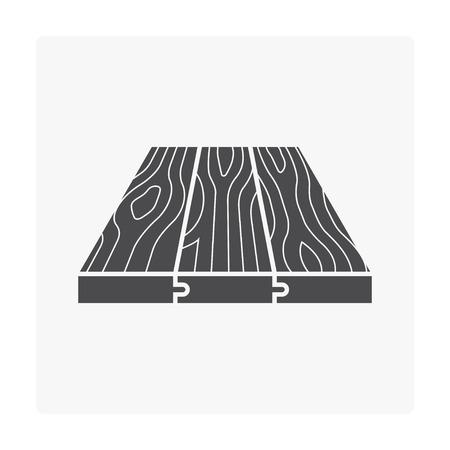 Icona di legno del modello del pavimento su bianco. Vettoriali