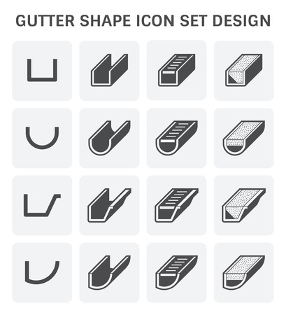 Gutter shape icon set design. Stock Illustratie