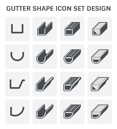 Gutter shape icon set design. Illustration