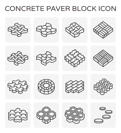 Concrete paver block icon set. Ilustrace