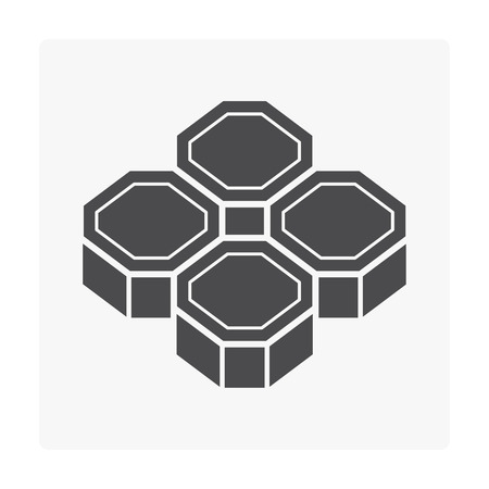 Concrete pave block floor icon on gray background