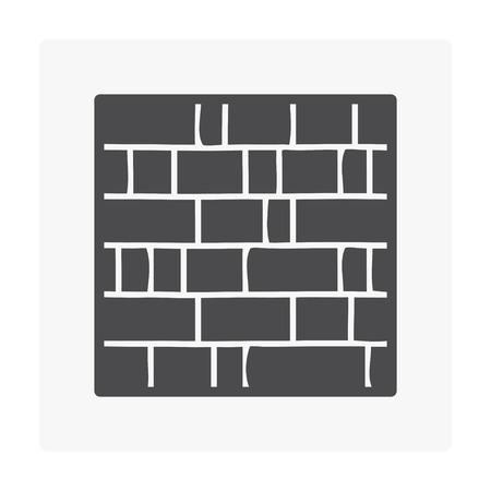 Brick wall icon on white.