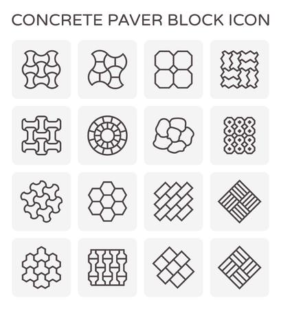 Concrete paver block icon set. Illustration