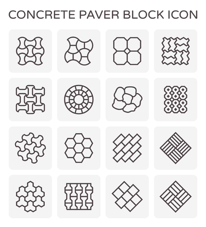Concrete paver block icon set. Illustration