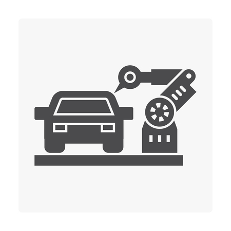 Car manufacture and robot icon on white. Illustration