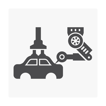 Car manufacture and robot icon on white. Ilustrace