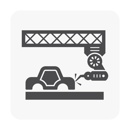 Car manufacture and robot icon vector illustration