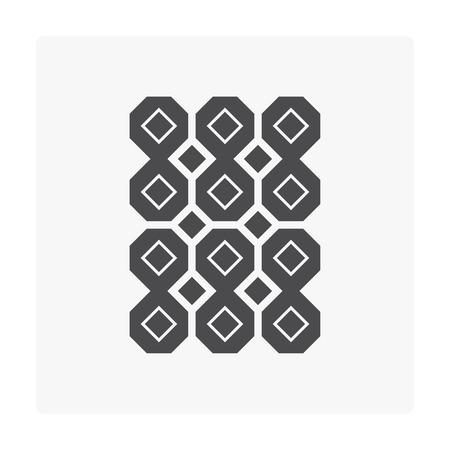 Icona concreta del pavimento del blocchetto per pavimentazione in calcestruzzo su bianco.