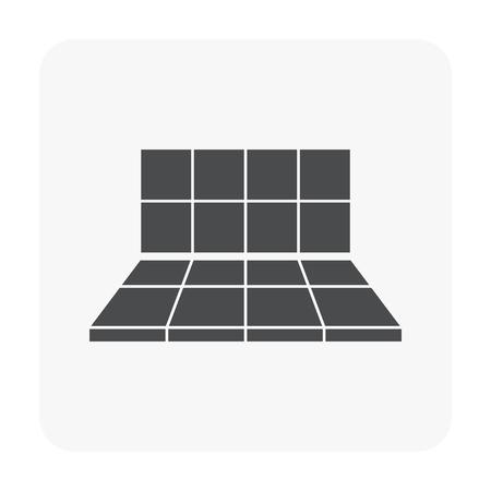 Tile floor installation  icon on white.