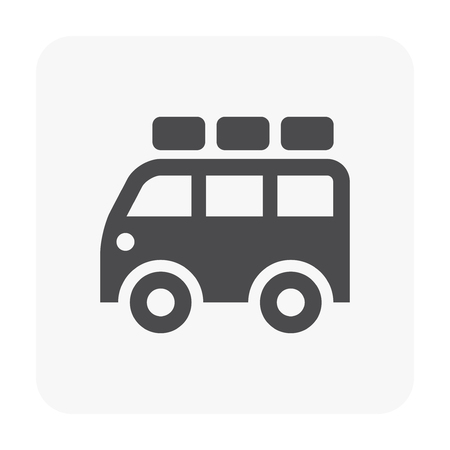 Camping truck or van icon on white.