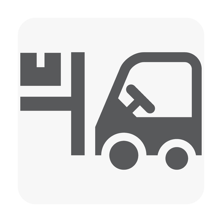 Forklift and worker icon on white.