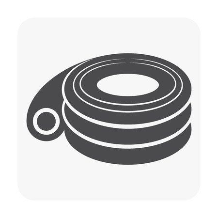 HDPE pipe and connection joint icon on white.