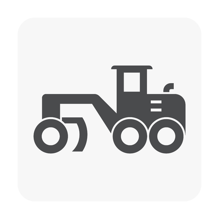 Soil compaction and equipment icon on white background.