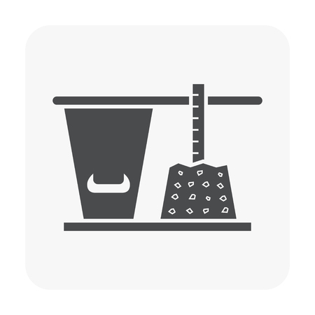 Concrete strength testing and equipment icon on white background.
