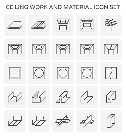 Ceiling work and material icon set.